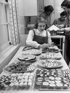 Home-Ec 1949.  Looks like they're getting ready for either Christmas or St. Joseph altar!! So cool!!