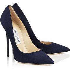 Navy Suede Pointy Toe Pumps ANOUK (25866320 BYR) ❤ liked on Polyvore featuring…