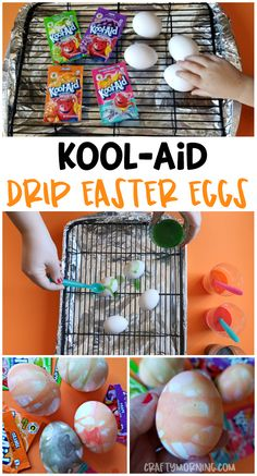 Kool-aid drip easter egg decorating idea for the kids! Fun unique idea making fun designs. easter egg decorations