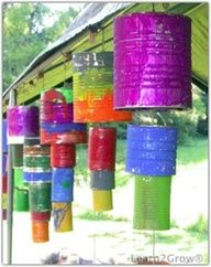 wind chimes from recycled cans