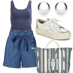 Sporty Chic, Look Chic, Casual Shorts, Easy, Blue, Outfits, Women, Fashion, Elegant