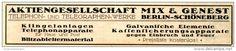 Original-Werbung/Anzeige 1916 - TELEPHON / TELGRAPHEN GESELLSCHAFT MIX & GENEST BERLIN - SCHÖNEBERG - ca. 180 x 35 mm