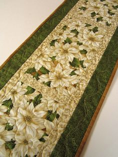 Christmas Table Runner -  Quilted Poinsettias