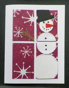 handmade snowman card looking through window