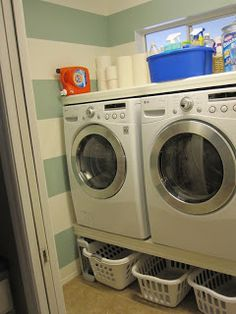 My Laundry Room Before and After! (I like the idea of building a pedestal to put washer and dryer on!)