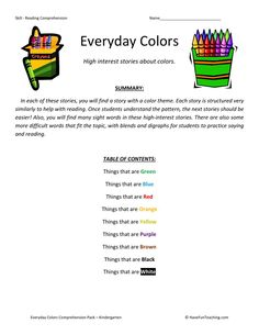 This Reading Comprehension Worksheet - Everyday Colors is for teaching reading comprehension. Use this reading comprehension worksheet to teach reading comprehension. 6th Grade Reading, Reading Test, Kindergarten Reading, Reading Skills, Teaching Reading, Reading Practice, Reading Comprehension Test, Reading Fluency, Reading Passages