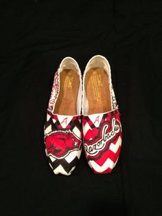 University of Arkansas Custom Painted Toms Canvas Shoes on Etsy, $105.00