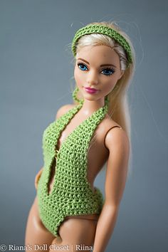 Curvy Barbie doll bathing suit wiht matching by RianasDollCloset