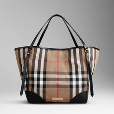 Medium House Check Tote in Chocolate Leather Trim