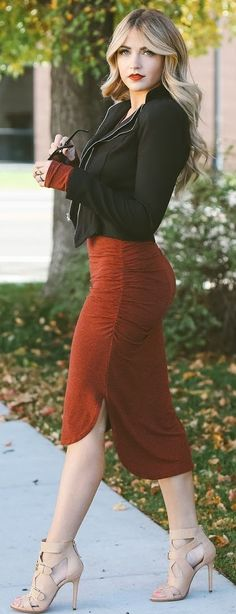 Ruby+Red+Pencil+Skirt+Fall+Street+Style+Inspo+#Fashionistas+
