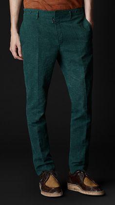 Burberry linen pant in dark bottle green Dark Green Pants, Green Pants Men,  Linen 956b1b5bfa2