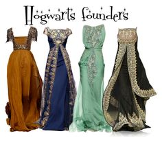 """""""Hogwarts founders"""" by ravenclawchick852 ❤ liked on Polyvore featuring Andrew Gn and Georges Hobeika"""