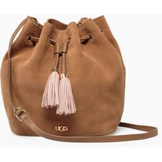 Ugg Rae Bucket Bag ($225) ❤ liked on Polyvore featuring bags, handbags, shoulder bags, bucket bag, brown purse, ugg purse, pebbled-leather handbags and ugg