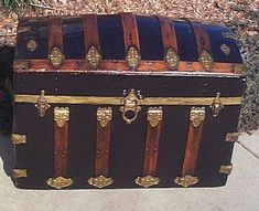 I've always wanted a pirate chest of my own! This one's an antique restored dome top steamer trunk