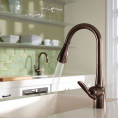Moen Arbor One-Handle High Arc Pulldown Kitchen Faucet Featuring Reflex, Oil Rubbed Bronze in Touch On Kitchen Sink Faucets. Oil Rubbed Bronze, Unpainted Furniture, Cool Kitchens, Rubbed Bronze Kitchen, Bronze Kitchen Faucet, Granite Countertops, Best Kitchen Sinks, Faucet, Moen