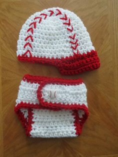 CROCHET BASEBALL Hat w/ Matching White w/RED Trim Diaper Cover * Photo Props * Shower Gift * Preemie - 6 months by kimcrochetcreations on Etsy https://www.etsy.com/listing/187705469/crochet-baseball-hat-w-matching-white