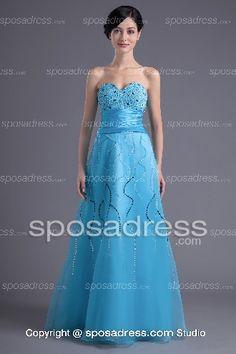 Elegant Sequined Empire Waist Princess Blue Prom Dress