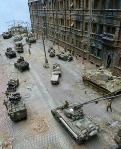 MDF army group centre, strolling through destroyed mosta, year 11 PM Tamiya Model Kits, Tamiya Models, Military Action Figures, Model Tanks, Model Building Kits, Wargaming Terrain, Military Modelling, Train Layouts, Plastic Model Kits