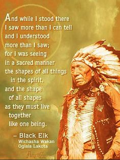 """And while I stood there I saw more than I can tell and I understand more than I saw, for I was seeing in a sacred manner the shapes of all things in the spirit, and the shape of all shapes as they must live together, like one being."" -Black Elk"