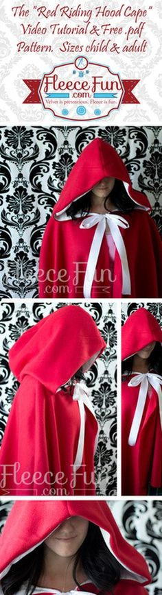 Little Red Riding Hood cape pattern - Sizes baby and adult, free pattern and tutorial. Sewing Tutorials, Sewing Crafts, Sewing Projects, Sewing Patterns, Diy Clothing, Sewing Clothes, Tutorial Fantasia, Look Fashion, Diy Fashion