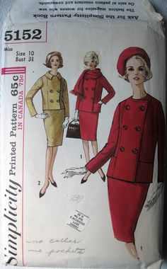 Women's Lined Suit Jacket, Back Pleat Pencil Skirt and Scarf - 60's Jackie O Suit Pattern Simplicity 5152 Size 10