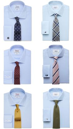 Men's Light/Sky Blue Shirt and Tie Combinations