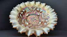 Carnival Glass Northwood Strawberry Marigold Iridescent Pie Crust Edge Bowl EUC