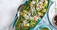 Honey, Dijon mustard and toasted almonds dress this fresh salad of zucchini, green beans and spinach. Vegetable Salad, Vegetable Recipes, Ginger Green Beans, Dinner Party Recipes, Toasted Almonds, Honey Mustard, Dressing Recipe, Salad Recipes, Side Dishes