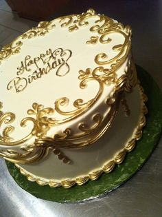 """Golden Birthday Cake -maybe a square cake with same edging and a """"gold bar/s"""" on the corner"""