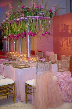 Wildflower Linen's principal designer Youngsong Martin teamed up with celebrity planner, Diann Valentine and internationally celebrated planner, Nikki Khan of Exquisite Events to come up with a fun, frilly and flirty tablescape display in an ombre of pink hues!  Special thanks to Gene Higa and Braja Mandala for the great images.