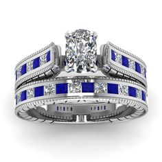 2 Carat Vintage Cushion Cut Bridal Engagement Ring Set with Blue Sapphire in 950 Platinum exclusively styled by Fascinating Diamonds