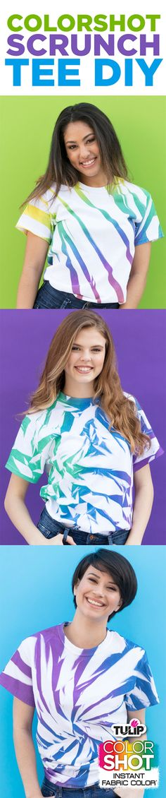 ColorShot Scrunch Tie-Dye Shirts | iLoveToCreate Fabric Spray Paint, Fabric Painting, Remake Clothes, Tulip Colors, Tie Dye Techniques, Pleated Shirt, How To Tie Dye, Spirit Shirts, Tie Dye Shirts
