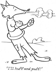 English Activities, Kids Learning Activities, Coloring Pages For Girls, Coloring Books, Goose Craft, Nursery Rhymes Preschool, Huff And Puff, Wolf, English Story