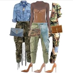 Outfit on left. Camo Fashion, Girl Fashion, Fashion Looks, Fashion Outfits, Womens Fashion, Fashion Trends, Classy Outfits, Stylish Outfits, Fall Outfits