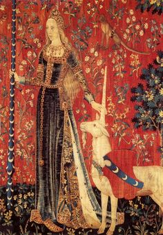 Tapunicorn.  La Dame a La Licorne, Le Toucher (detail)   Tapestry, wool  silk, end of 15th century   Courtesy: Reunion des musees nationeaux, Paris.