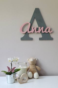 Wooden Letters, Baby Nursery Wall Hanging Letters in Script Font, Baby Name Sign, Kids Room Decor, Wood Letters - Our wooden letters add a sweet personal touch to the game rooms or study spots. Nursery Design, Nursery Decor, Room Decor, Nursery Room, Bedroom, Diy Bebe, Baby Name Signs, Baby Names, Wood Letters