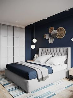 bohemian boho bedroom design of blue bedroom idea wall decor ., bohemian boho bedroom design of blue bedroom idea wall decor design. Grey Bedroom Colors, Bedroom Colour Palette, Blue Bedroom Decor, Home Bedroom, Bedroom Inspo, Navy Blue Bedrooms, Blue Bedroom Walls, Bedroom Curtains, Bedroom Ideas Paint