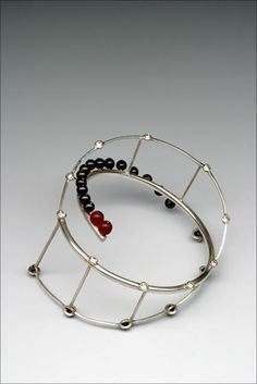 Bracelet | Martina Mináriková. 'Blood and Breath'. Silver, Bohemian garnet, glass, zircons