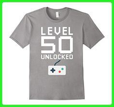Mens Level 50 Unlocked Shirt Funny Gamer 50th Birthday Gift Shirt 3XL Slate - Gamer shirts (*Amazon Partner-Link)