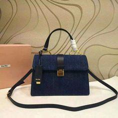 c76a2c29b9d7 2016 A W Miu Miu Leather and Denim Top Handle Bag 5BA108 in  Blue+Baltic Blue  MiuMiu