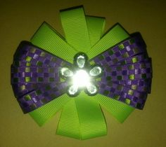Purple and green hairbow