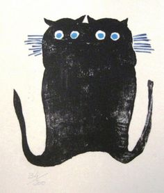 John Graz, 1980, Untitled (black kittens), engraving.