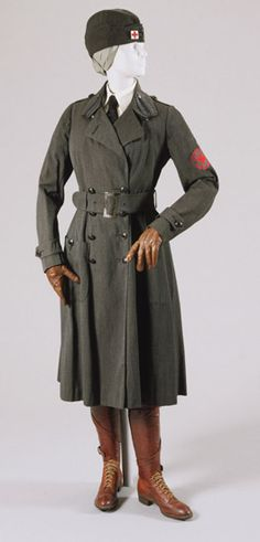 Woman's First World War American Red Cross Motor Services Uniform: Coat, Breeches, Coat Belt, Belt and Cap with Pin.  Made in United States, North and Central America. 1917.