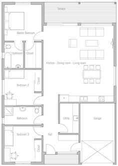Small House Plan In Modern Architecture With Three Bedrooms. Modern House  Plan To Modern Family.