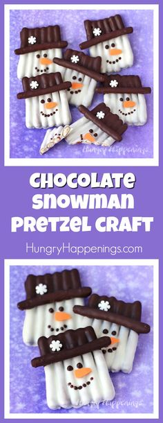 This winter get crafty in the kitchen by making some sweet and salty snowmen pretzels. Each Chocolate Pretzel Snowman Craft couldn't be cuter with their orange carrot noses and snowflake topped hats. They make perfect Christmas treats and wintertime snacks.