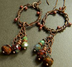 Copper Vine Earrings Hoop Primitive OOAK by ChrysalisToo on Etsy, $35.00