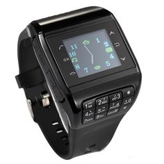 56.33$  Watch now - http://aliqvt.worldwells.pw/go.php?t=32584987930 - Wrist Watch Cell Phone Dual SIM Card Quad-band Keypad Touch Screen Q3 Phone Watch Black  56.33$