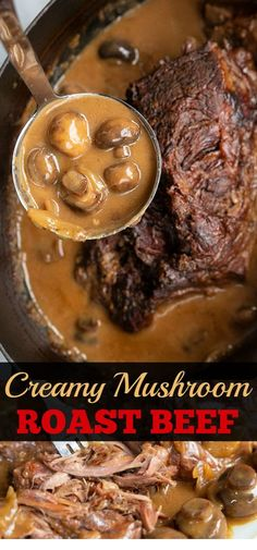 May Creamy Mushroom Beef Chuck Roast Recipe! Take a tough chuck roast, slow cook it on low for hours and turn it into a buttery soft roast with a creamy mushroom onion gravy - ALL in one roaster! Beef Steak Recipes, Beef Recipes For Dinner, Oven Recipes, Slow Cooker Recipes, Cooking Recipes, Roast Beef Slow Cooker, Beef Chuck Recipes, Gravy For Roast Beef, Chuck Roast In Crockpot