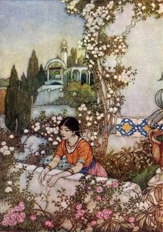 A Brave Heart - from Beauty and the Beast by Edmund Dulac. Art Nouveau (Modern). illustration
