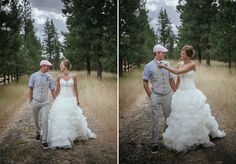 Matt Shumate Photography at the ridge at rivermere wedding venue bride and groom portrait walking down dirt road path through trees